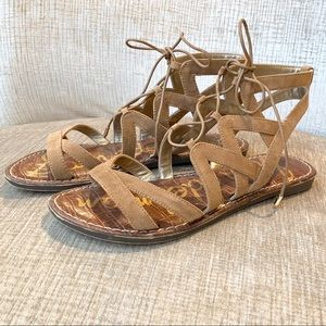 Sam Edelman Tan Suede Strappy Lace Up Sandals